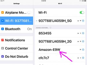 Picture of the iOS Settings WiFi Screen, showing the available AMAZON-XXX Network Highlighted though not yet connected.