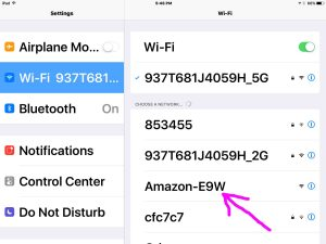 Picture of the iOS Settings WiFi Screen, showing the available AMAZON-XXX Network Highlighted though not yet connected. Reconnect Echo Dot to new WiFi network.