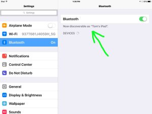 Picture of the iPad Bluetooth Discovery Mode Screen, showing that Bluetooth is ON.