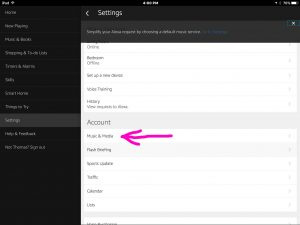 Picture of the Amazon Alexa app, displaying the Settings screen, with the Music & Media link highlighted.