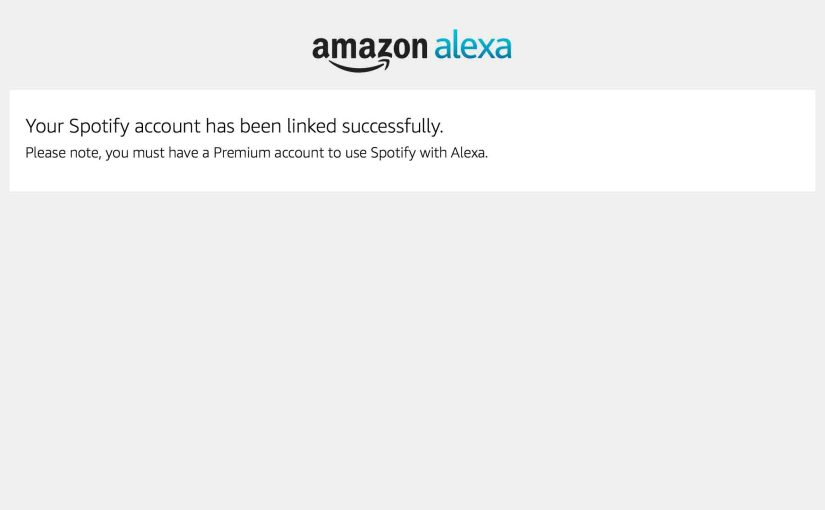 Picture of the Amazon Alexa App on iOS, Displaying the -Spotify Account Linked Successfully- Screen.