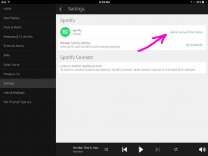 Picture of the Amazon Alexa app on iOS, displaying the -Spotify Settings- screen, with the -Unlink Account from Alexa- option highlighted.