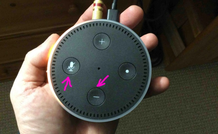 Picture of the Amazon Echo Dot 2nd Gen, with Reset Button Combination Highlighted. Includes the Mic Off and Volume Down buttons.