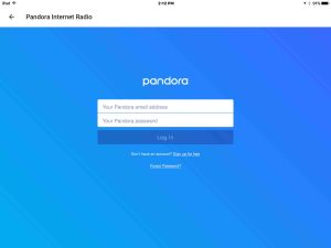 Picture of the Google Home app on iOS, displaying the -Pandora Login- screen.