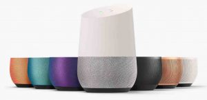 Picture of the various speaker grill colors available for the Google Home Speaker.