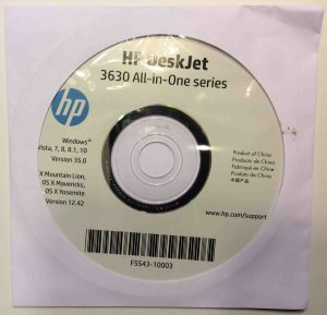 Picture of the HP 3630 All In One series printers software disc, version 35.0, top view.