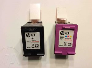 Picture of the HP DeskJet 3630 series printer ink cartridges for HP 3632 printer, unbagged.