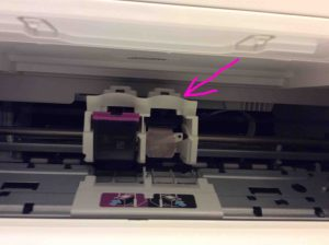 Picture of the HP DeskJet 3630 printer, showing black Ink cartridge removed.