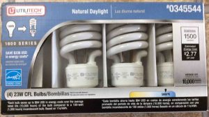 Picture of the Utilitech compact fluorescent lamps, #0345544 daylight 23 watt package, front view.