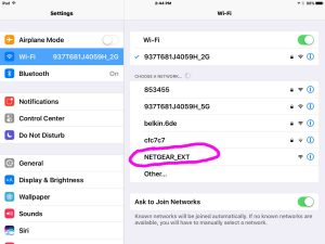 Netgear EX3700 setup. Picture of the NETGEAR_EXT WiFi Network as seen on an iPad Air, that the EX3700 range extender establishes when in Setup mode.