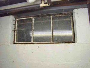 Picture of the old basement window 9, to be replaced.