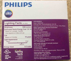 Picture of the Philips LED 75w A19 daylight white light bulb 2-pack, back view.