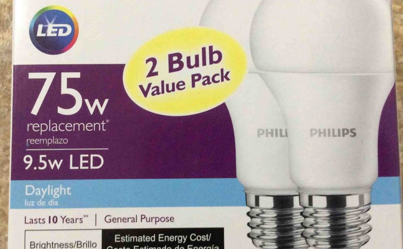 Picture of the Philips LED 75w A19 daylight white light bulb 2-Pack, front view.