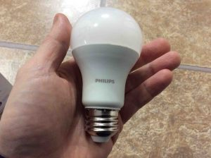 Picture of the light bulb, held in hand.