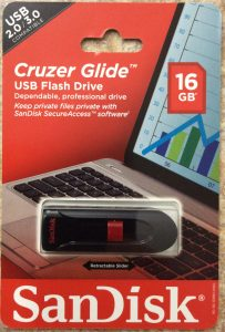 Picture of the Sandisk® Cruzer Glide™ 16 GB USB flash drive, original package, front view.