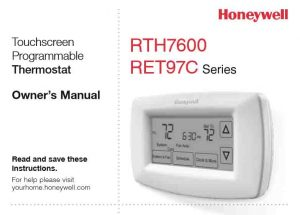 Picture of the Honeywell RTH7600 7-day programmable thermostat owners manual cover page.
