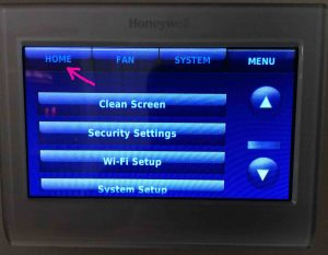 Picture of the Honeywell RTH9580WF smart thermostat, displaying the -Main Menu- screen, with the -Home- button highlighted.