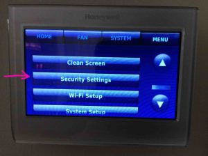Picture of the Honeywell RTH9580WF smart thermostat, displaying its main menu, with the -Security Settings- option highlighted.