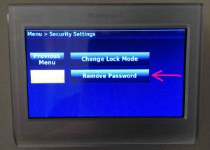 Picture of the Honeywell RTH9580WF smart thermostat, displaying its -Security Settings- screen, with the -Remove Password- option highlighted.