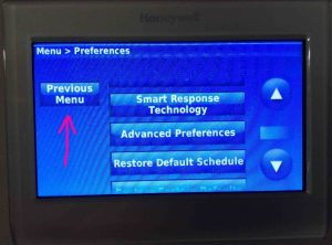 Picture of the Honeywell RTH9580WF thermostat, showing its -Preferences- screen, with the -Previous Menu- button highlighted.