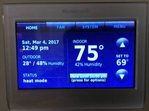 Honeywell thermostat not reaching set temperature. Picture of the Honeywell RTH9580WF wireless thermostat, displaying its -Home- screen. We set the temperature set to 69 degrees, and placed the thermostat into temporary hold mode until 10:00 PM.