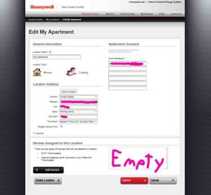 Picture of the Honeywell Total Connect Comfort web site, displaying the -Edit My Location- page, showing no thermostats registered.