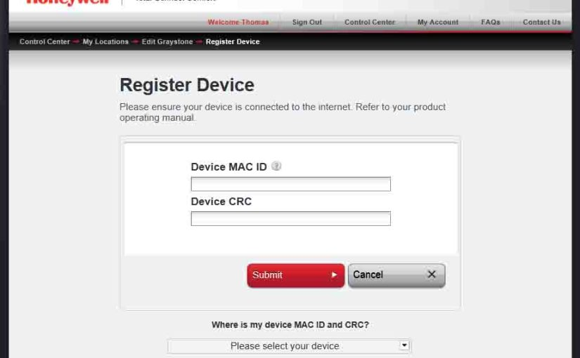 Picture of the Honeywell Total Connect Comfort web site, displaying its -Register Device- page.