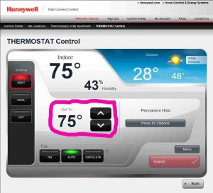 Picture of the Honeywell Total Comfort Connect web site, displaying the thermostat control page for a particular thermostat, with the current temperature control circled.