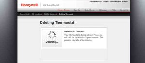 Picture of the Honeywell Total Connect Comfort web site, displaying the -Deleting In Progress- page.