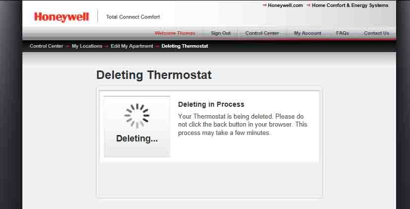 Unregister Honeywell Thermostat RTH9580WF Instructions