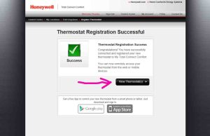Picture of the Honeywell Total Connect Comfort web site, displaying its -Thermostat Registration Successful- screen, with the -View- button highlighted. Honeywell WiFi Thermostat registration.