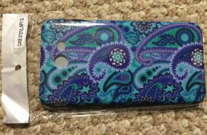 Picture of the blue paisley case option for the Samsung Galaxy J7 Sky Pro smart phone, outside view.