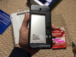 Picture of the Samsung Galaxy J7 Sky Pro Smart Phone with back cover removed, without battery.