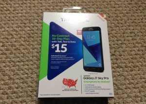 Front view picture of the original packaging for the Samsung Galaxy J7 Sky Pro smart phone.