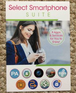 Picture of the Select Smart Phone Suite advertisement pamphlet, front view. Unboxing Samsung Galaxy J7.