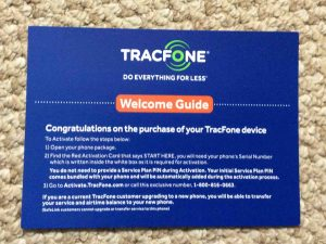 Picture of the Tracfone welcome guide that accompanies Tracfone smart phones in the box.
