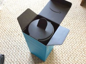 Picture of the Amazon Echo generation 2 smart speaker box, top open, showing inner speaker holder from another angle.