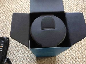 Picture of the Amazon Echo 2nd gen speaker box, showing the top open, revealing the inner cardboard speaker holder.