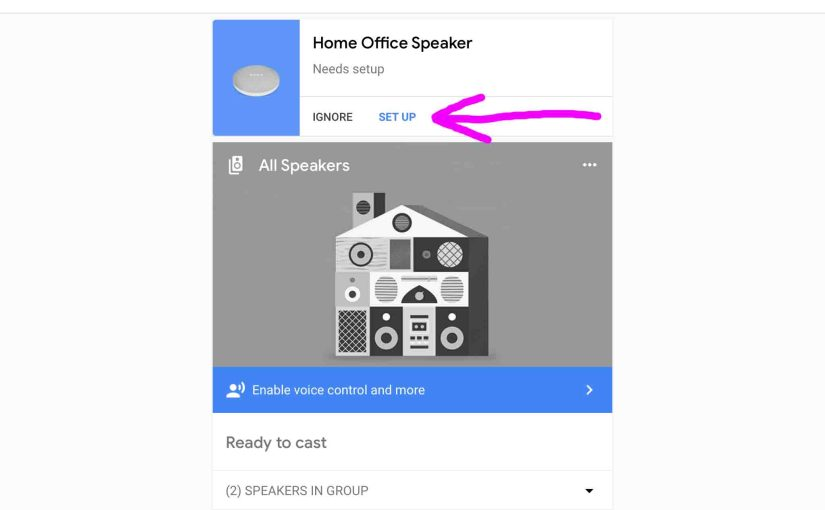 Picture of the Google Home app on iOS, displaying its Devices screen, showing the Google Home Mini smart speaker -Set Up- link highlighted.