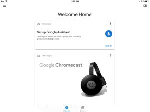 Picture of the Google Home app on iOS, displaying its Home screen.