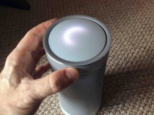 Picture of the changing light pattern on the Harman Kardon Invoke smart speaker, as the volume ring is rotated.