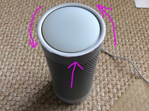 Picture of the highlighted volume setting ring on the Microsoft Cortana Invoke smart speaker by Harman Kardon.