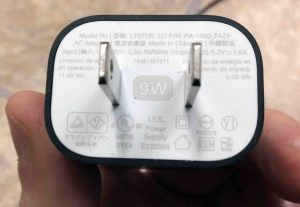 Picture of the Label side of AC USB wall adapter for the Amazon Alexa Echo Dot Gen 2 smart speaker.