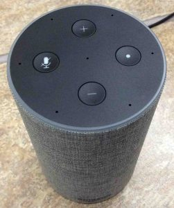 Picture of the Amazon Echo Gen 2 smart speaker, top front view, showing ready for factory default reset. Factory reset Alexa.