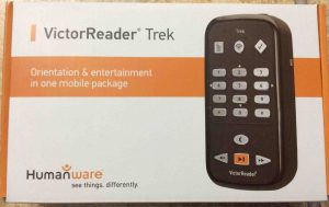 Picture of the Victor Reader Trek GPS navigator player package box, top view.