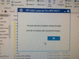 Picture of the HP Color LaserJet Pro MFP M477 driver software, displaying its -Latest Available Installer- message screen.