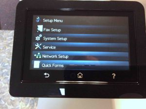 Picture of the HP Color Laserjet Pro MFP M477 printer, displaying its -Setup Menu- screen, scrolled down to show the -Network Setup- Item.