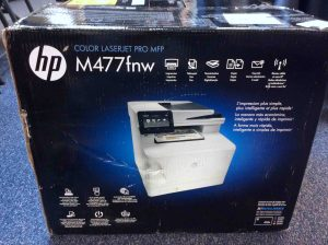 Picture of the HP Laserjet MFP M477, original box, side view 3.