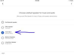 Picture of the Google Home app on iOS in 2018, showing its -Choose Default Speaker- screen, with the -Toms Flip 4- Bluetooth speaker highlighted.