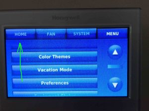 Picture of the RTH9580WF WiFi thermostat, showing its -Main Menu- page, with the -Home- button highlighted. Set temperature range on Honeywell thermostat.